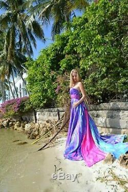 New Bohemian Wedding Dress Pink Blue white purple 2 4 6 8 10 bow train tie dyed