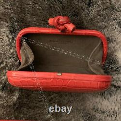 New Bottega Veneta Matte Red Niloticus Crocodile Knot Minaudiere Clutch Bag Rare