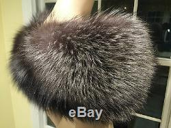 New! Genuine GRAY SILVER FOX FUR STOLE Scarf Wrap Shawl with Black Satin Bow 42X7