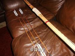 New-Hand Painted Bamboo Backed Hickory Longbow with Arrows