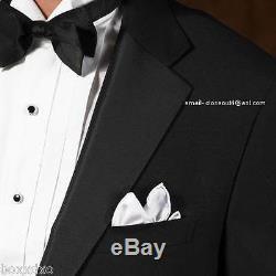 New ITALIAN Wool Black Tuxedo Free Vest &Bow 38R 40R 40L 42R 42L 46R 46L 48R Tux