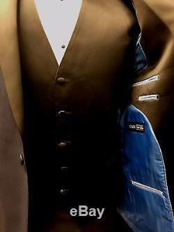 New Navy 40R Midnight Blue Black Peak Lapel Tuxedo Slim Fit FREE Vest & Bow Tux