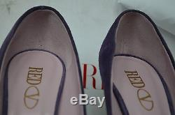 New Red Valentino Bow Handmade ITALY Suede 37.5 Heels Platforms Pumps Purple