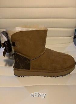New Ugg Boot With Louis Vuitton canvess on heel. Handmade LV Bow. Size 8