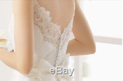New White/Ivory Lace Mermaid Boat Neck Wedding Dress with Detachable Train & Bow