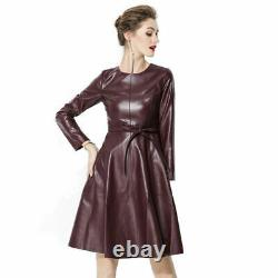New Women Genuine Leather Fashion Fit & Flared Bow Style Dress With Long Sleeves