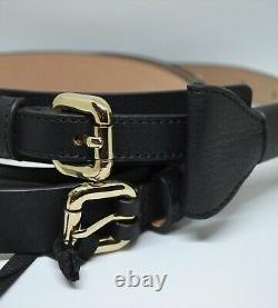 New in Box Valentino Red Leather Bow Belt Italy Black S M L 90cm Handmade