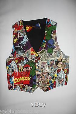 Novelty BATMAN, SUPERMAN, MARVEL Vest and Bow Tie Set size S-3XL