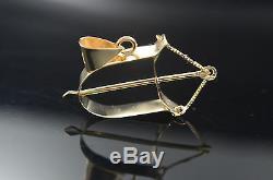 Ochosi Bow Pendant / Bracelet Charm 14K Gold Yoruba Orisha