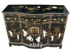 Oriental Chinese Black Lacquer Bow Front Sideboard Mother of Pearl Inlaid