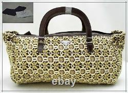 PRADA Lame Bow Handle Gold Women's Bag Made in Italy Hand Bag