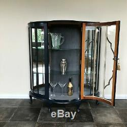 Painted Vintage Bow Fronted Glass Display Cabinet / Gin Cabinet in Basalt