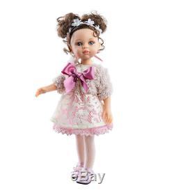Paola Reina Luxury Doll Carol Pink Lace Dress Bow Tiara 12.6in/32cm Toy Girls