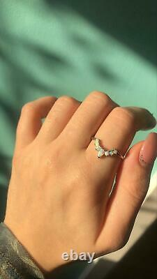 Pear Handmade Opal Engagement Ring Beautiful 14K White Gold Minimalist Bow Rings