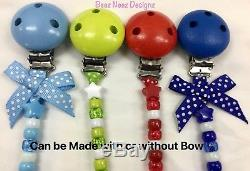 Personalised Dummy Clip Up To 12 Letters Many Colours With/ Without Bow