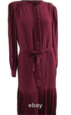Pierre Balmain Paris Boutique Dress Red Wine Pleated Silk Buttons Size 18 Vtg