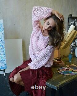 Pink mohair sweater Light shiny knit sweater Chic soft thick sweater