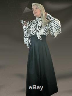 Pissy-Bow Zebra-Print Silk Georgette Balloon Sleeve Shirt