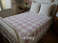 Pretty Purple Packed Floral Feedsack Prints! Lovely Vintage Bow Tie QUILT 79x61