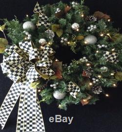 Pristine Pre-Lit Artificial Christmas Wreath 24 Diameter, 5 Foot Cascade Bow