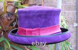 Purple Suede Leather Formal Fancy Dress Burlesque / Bowler/ Races Ladies' Hat