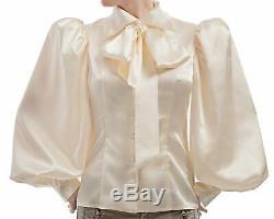 Pussy-Bow Silk Satin Ballon Sleeved Blouse