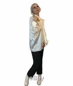 Pussy-bow Silk Charmeuse Shirt
