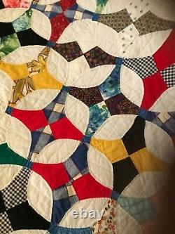 Quilt Hand quilted 75 x 92 never used Bow tie pattern cotton multi color