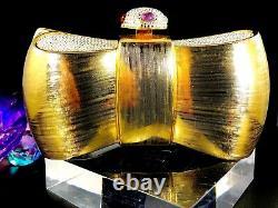 Rare Judith Leiber Gold Metal Rhinestone Bow Design Evening Clutch Shoulder Bag