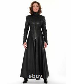 Real Leather Catsuit MATRIX-COAT Long Zipper Dress Cat Suit Kinky Dress