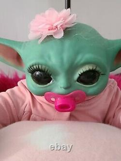 Reborn YODA Baby GIRL Doll MAGNETIC BOW AND PACI Micro Rooted Hair CUTE