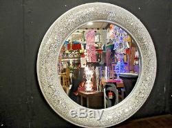 Round Crackle Bow Design Wall Mirror Silver Frame Mosaic Glass 80cm Handmade
