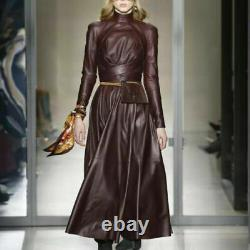 Runway Ladies Winter Leather Dress Long A Line Inspired Party Vestidos Ball Gown