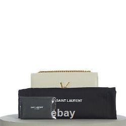 SAINT LAURENT 1750$ Small YSL Kate Chain Bag In White Grain De Poudre Leather