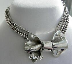 STUDIO Vtg 96g sterling silver 925 chunky choker collar necklace signed SDC