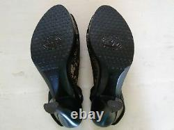 Salpy $489 Handmade USA Leather Slingback Heels Bows Lace Peep Toe Size 9.5 Mint