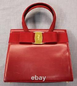 Salvatore Ferragamo Made in Italy Women Red Vara Bow Hand or Shoulder Bag $1150