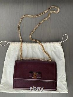Salvatore Ferragamo Medium Ginny Vara Bow Pebbled Calfskin Leather Shoulder Bag