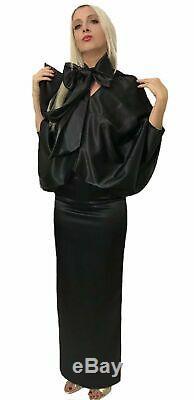 Satin V- Neck Pussy Bow Maxi Shirt Dress