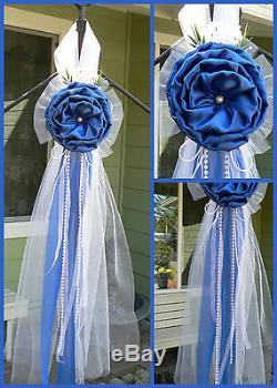Set of 10 Chair Bows, Pew Bows, Royal Blue White, HANDMADE Church Aisle decor
