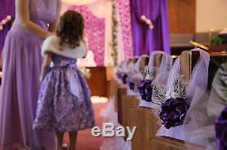 Set of 10 Purple Wedding decorations Chair Bows Pew Bow Satin Church Aisle Decor