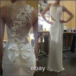 Sexy Mermaid Wedding Dresses Pearls Beaded Back Bow Chiffon Bridal Gown Custom