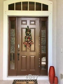 Sheer Grape and Pear Bow WALL TREE Holiday Decor, Cordless Light with Timer