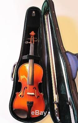 Shimro Stradivari Copy Handmade Solid Carved Top, Back with Bow, Case & Chinrest