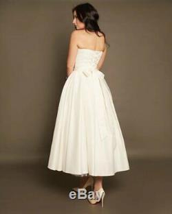 Short Wedding Dress Size 6 by VehovaDresses Tea Length Dress Satin Ivory