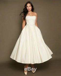 Short Wedding Dress Size 8 A line Tea Length Wedding Dress Ivory