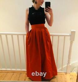 Skirt Orange taffeta luxury designer evening high quality fabric StudioINEZ