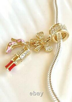 Solid 14k Yellow Gold & Hand-Enamel Lipstick, Shoe, Bow Charm for Bracelets, New