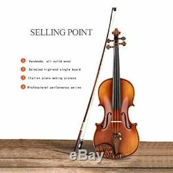 Solid wood violin pure handmade violin pro grade test performance bow string ins