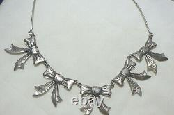 Southwest Hvy Sterling Necklace W, Bow Pendant Signed Jc In Logo 17.5
